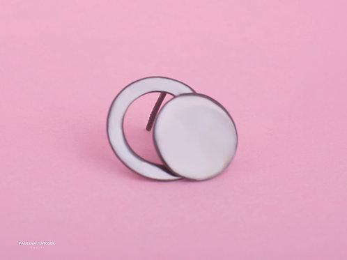 Kolczyki BALANCE asymetria koło i okrąg L black