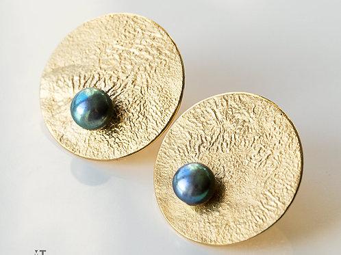 kolczyki LANOCHE koła 24 mm z granatową perłą gold