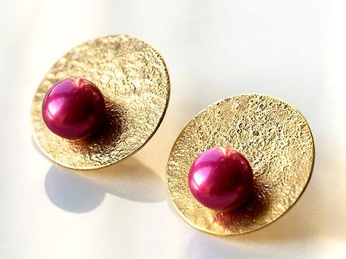 Kolczyki LANOCHE koła 25 mm z fuksjową perłą gold