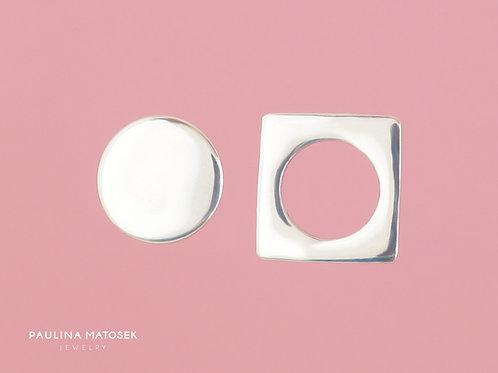 Kolczyki BALANCE kwadrat z otworem i koło