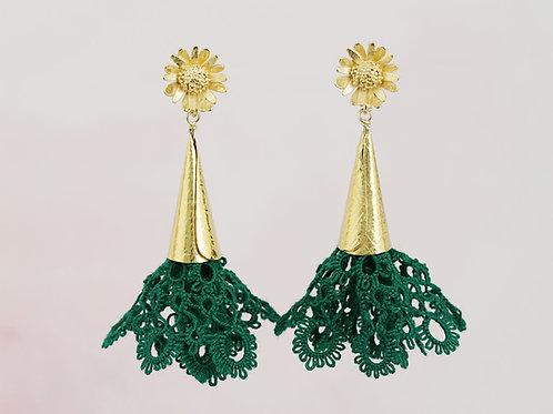BLOSSOM kolczyki frivolite daisy green gold