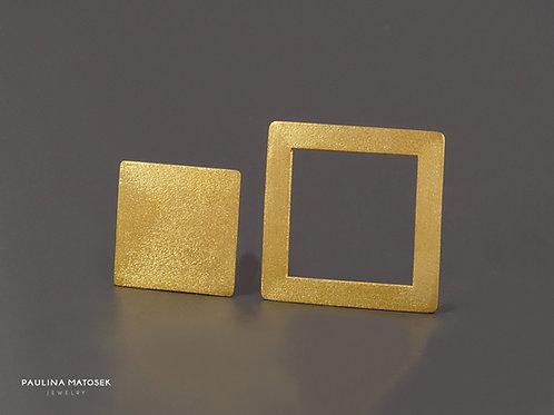Kolczyki BALANCE kwadraty asymetria satin gold