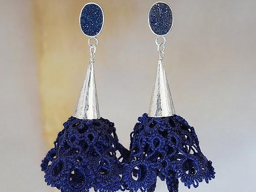 kolczyki BLOSSOM frivolite navy blue druzy