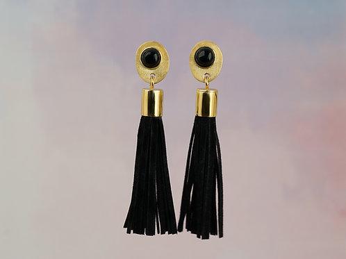 kolczyki BLOSSOM chwosty czarne z onyxem gold