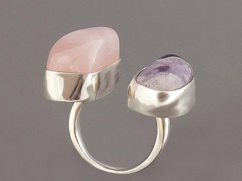 Pierścień unikaTY podwójny z ametystem i kwarcem różowym