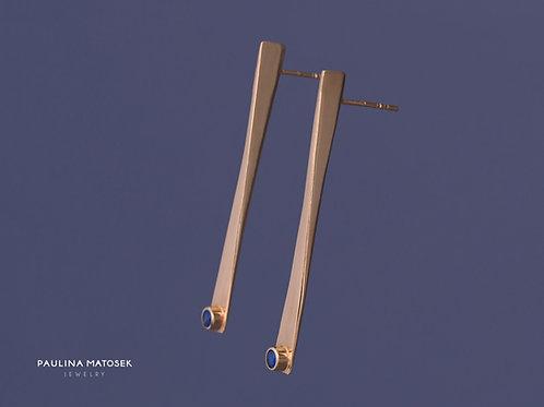 Kolczyki WING gold z szafirową cyrkonią