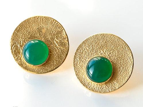 kolczyki LANOCHE koła 24 mm z zielonym agatem gold
