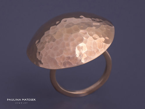 Pierścień disco ball L srebrny złocony