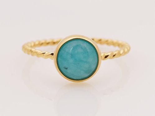 pierścien BLOSSOM z amazonitem na kręconej obrączce gold