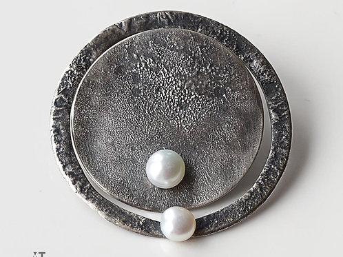 lanoche kolczyki asymetria koło 31 i okrąg 38 mm z białą perłą