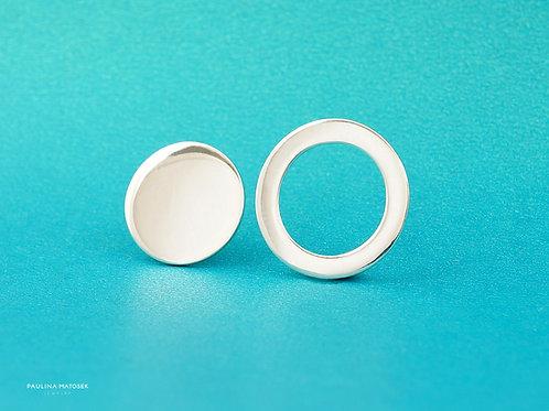 Kolczyki BALANCE asymetria koło i okrąg L