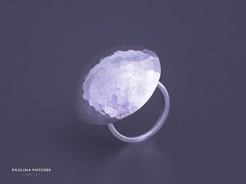 Pierścień disco ball L srebrny
