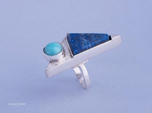 Pierścień unikaTY srebrny z amazonitem i lazurytem
