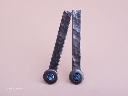 Kolczyki disco ball long black z szafirową cyrkonią