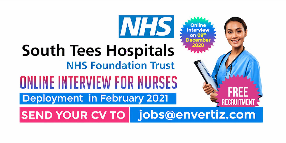 South Tees Hospitals NHS Foundation Trust Online Interview for Nurses