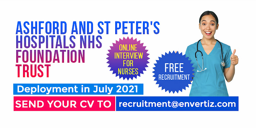 Ashford and St. Peter's Hospitals NHS Foundation Trust need nurses and we are hiring this April!!