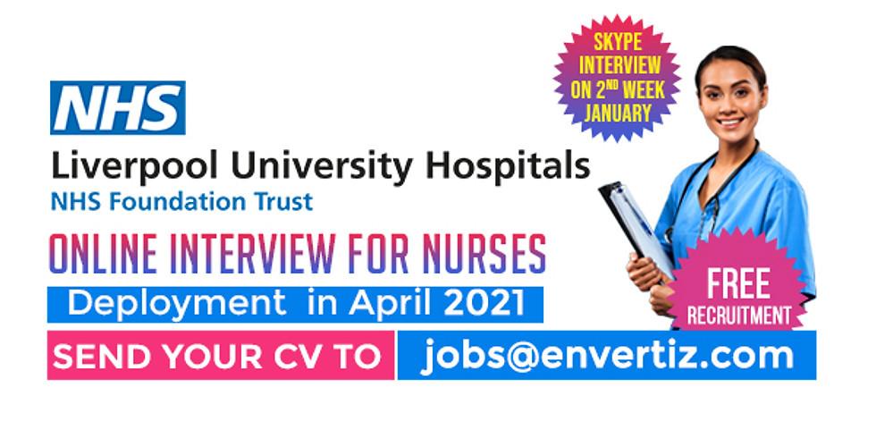 Skype Interview  for Nurses  Liverpool University Hospitals NHS Foundation Trust
