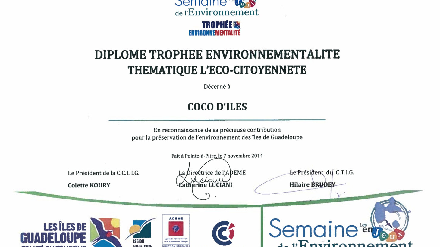 Diplome environnement - Résidence Coco d'Iles -  Les Saintes