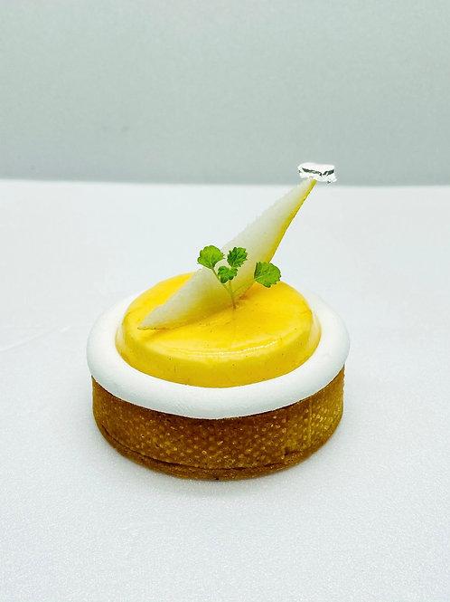 Tarte bourdaloue , crémeux miel de sapin
