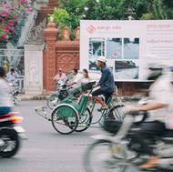 Cyclo in movement - Cambodia