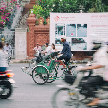 Cyclo in movement - Cambodia
