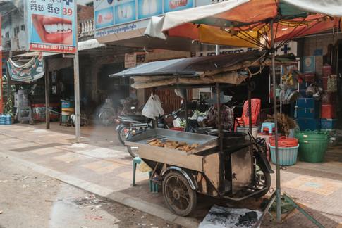 Food stall in Downtown Kampong Chhnang, Cambodia