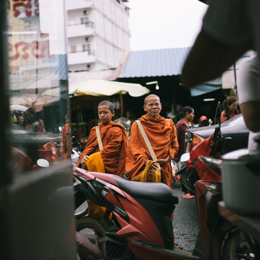 Monks collecting alms, Cambodia