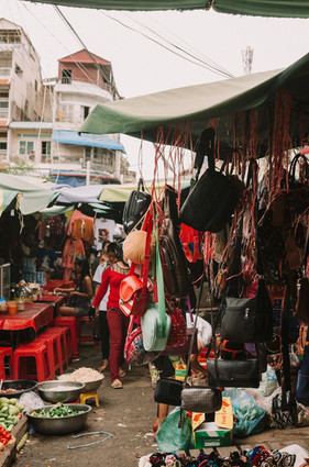 Bags selling in Kandal Market, Phnom Penh - Cambodia