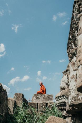 monk in Koh Ker, Preah Vihear, Cambodia