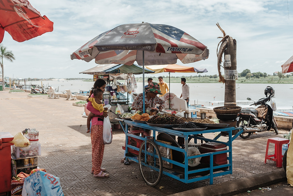 Lady selling insects in Kampong Chhnang, Cambodia