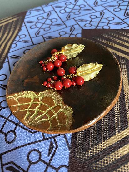 Stud beads drop earrings - Red Coral Swarovski Pearls