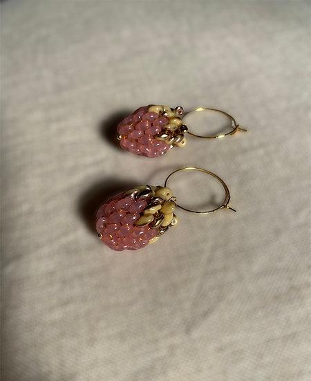 Berries Pink - hoop earrings with a beaded berry