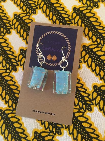 Silver ball hook beads drop earrings