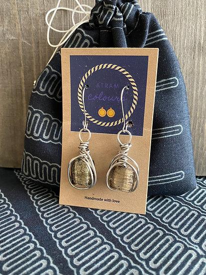 Wire wrapped beads drop earrings - Silver