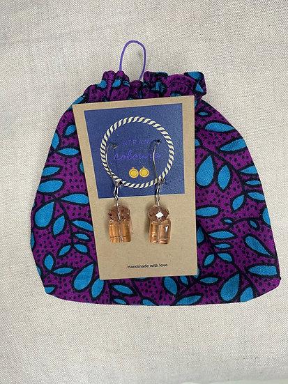 Surgical Steel beads drop earrings - Silver