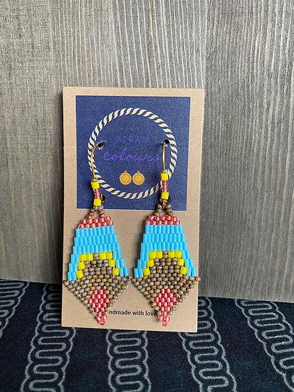 Cocktail Blue - Beadwork earrings