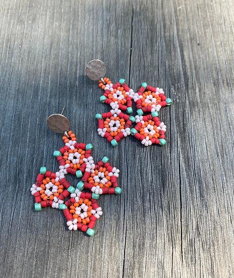 Shapes Flowers Large  - Beadwork earrings