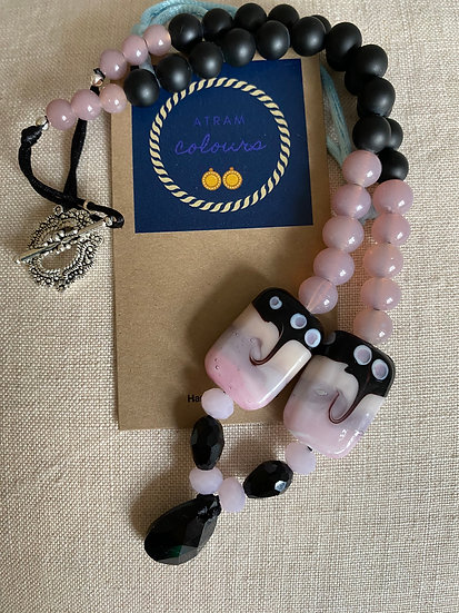 Black agate beads necklace with semi precious gemstone