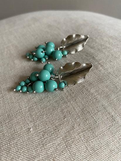 Stud beads drop earrings - Jade Swarovski Pearls