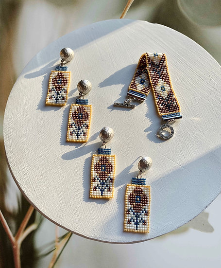 Folk Cornflower - beadwork earrings with silver plated ball studs