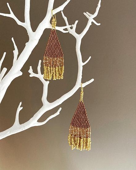 Stars Gold - Beadwork fringe earrings