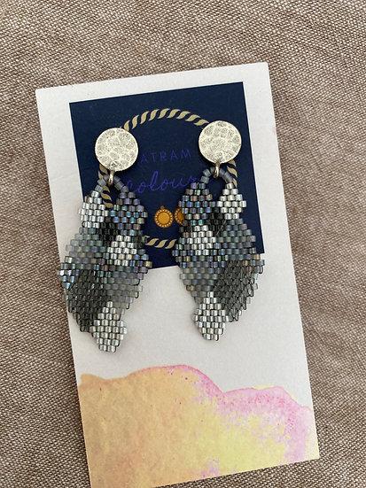 Honeycomb Grey - Beadwork earrings