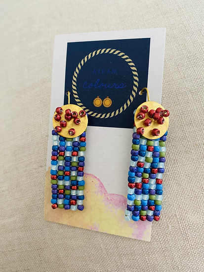 Shapes Rectangular - Beadwork earrings with gold disk hook