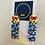 Thumbnail: Shapes Rectangular - Beadwork earrings with gold disk hook