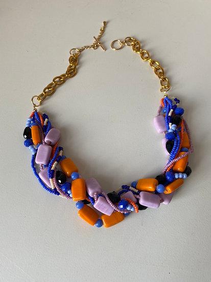 Multi layered torsade necklace - Royal Blue, Lilac & Orange