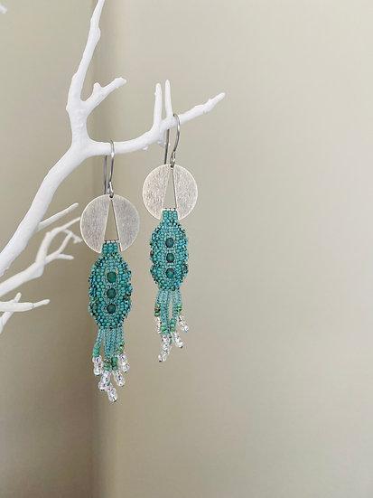 Lace - Silver Disk Green beadwork earrings