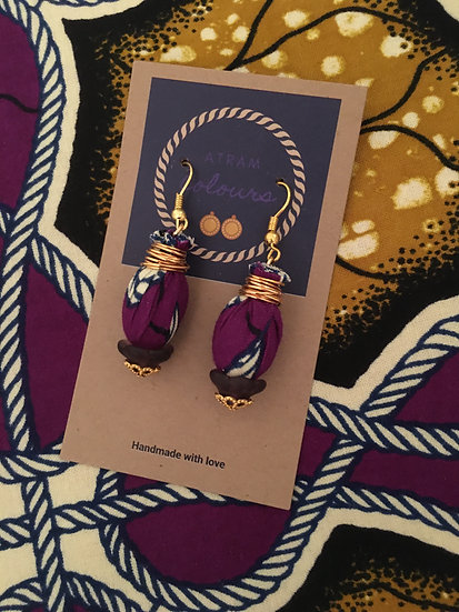 Fabric oval drop earrings small