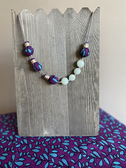 Leather Cord and Fabric necklace with Beads