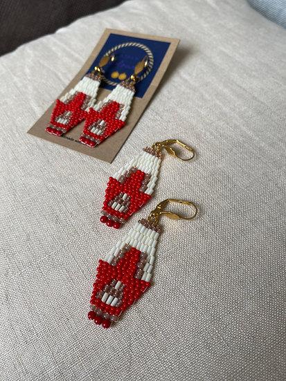 Cocktail Red - Beadwork earrings
