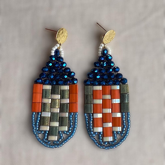 Jewel Blue - beadwork earrings